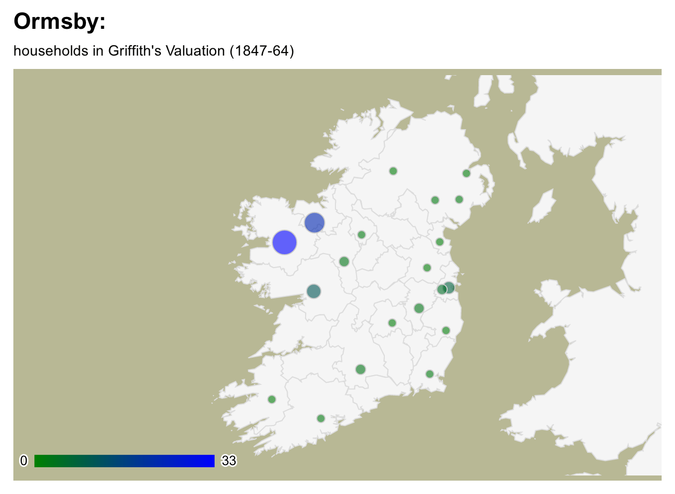 Ormsby surname distribution in Ireland