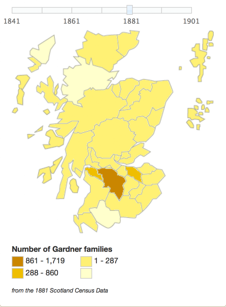 Gardner surname distribution in Scotland in 1881