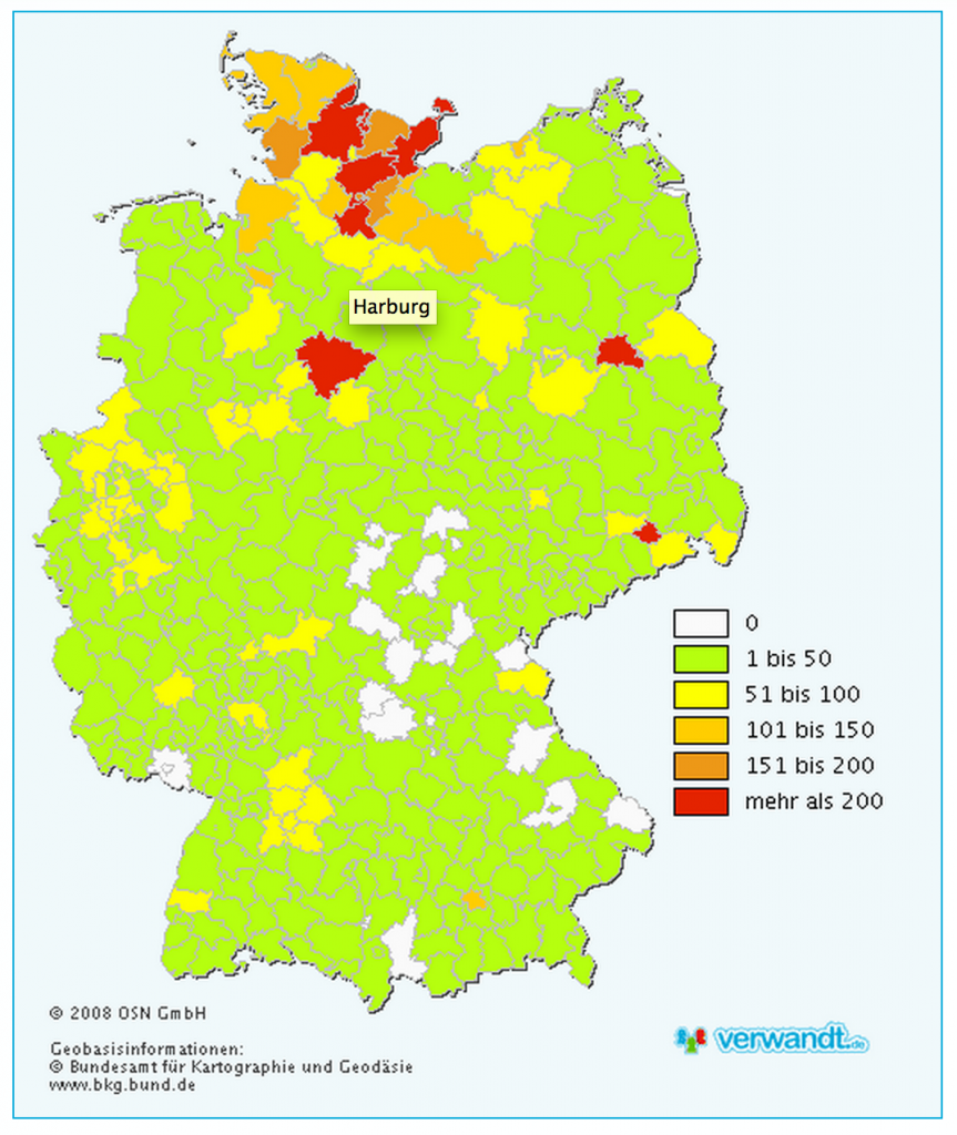 Hamann surname distribution in Germany