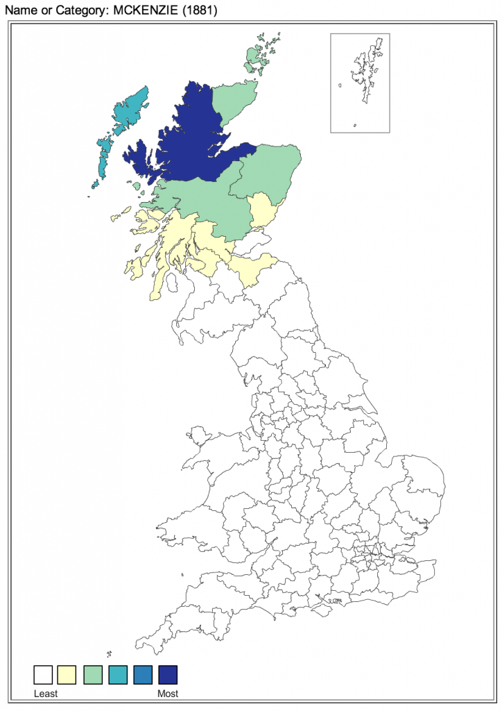 McKenzie surname distribution in UK 1881