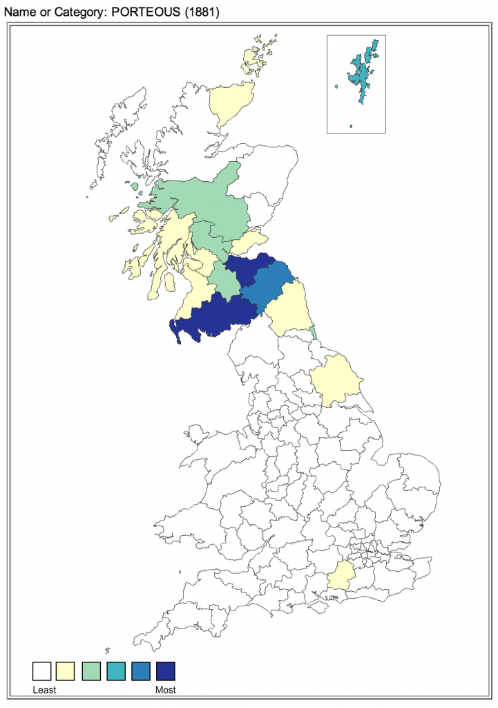 Porteous surname distribution in UK 1881