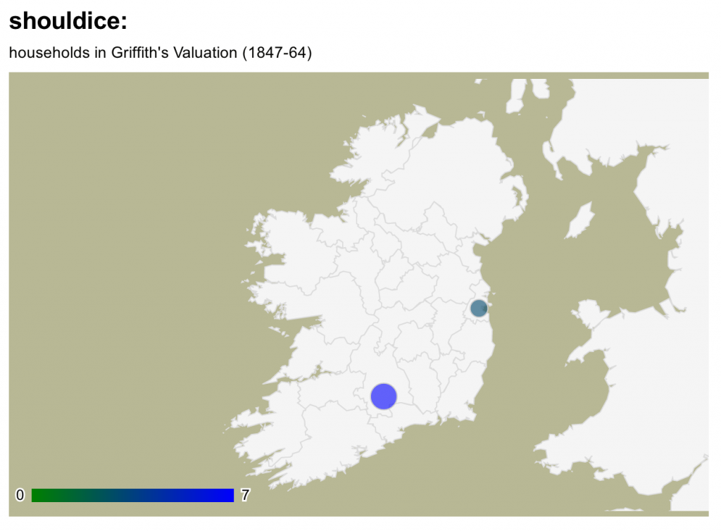 Shouldice surname distribution in Ireland
