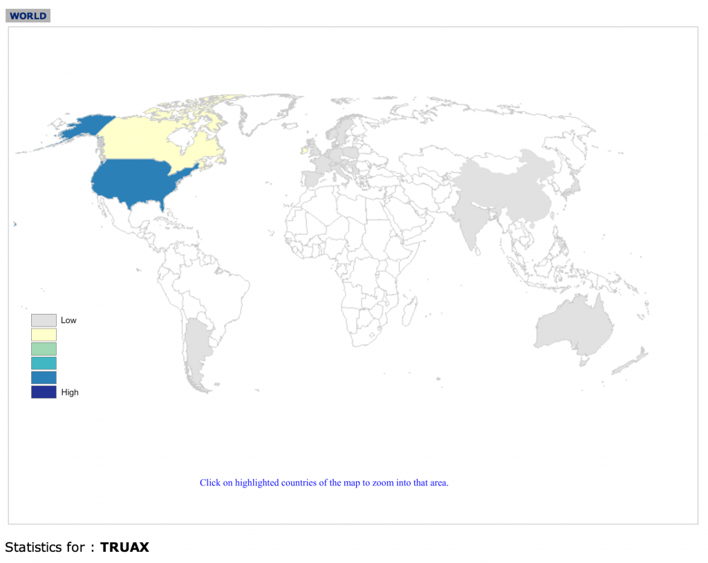 Truax surname distribution